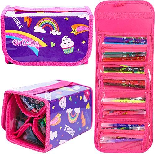 Girlzone: astuccio scuola con 38 pastelli profumelli - pennarelli profumati alla frutta - custodia per pastelli bimba - perfetto regalo di natale & befana - pastelli profumati con portapenne bimba