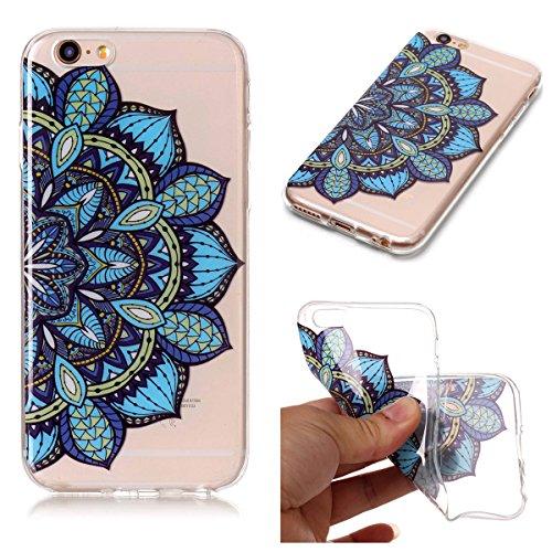 Cover iPhone 6 Plus/6S Plus, GrandEver Morbida Trasparente Ultra Slim Gel Silicone TPU Custodia Protettiva Back Shell Case per iPhone 6 Plus/6S Plus - Piuma Azul Mandala