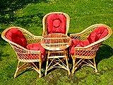 Eine Reihe von polnischen Korbmöbel: 3 Sessel + ein runder Tisch + Kissen