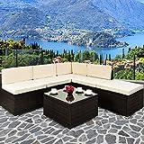 Deuba Poly Rattan Lounge Set XXL Braun | 7cm Dicke Sitzkissen Creme | Elemente Flexibel Kombinierbar | UV-beständiges Polyrattan - Sitzgarnitur Sitzgruppe Couch Gartenmöbel Gartenlounge
