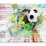 murando - Fototapete Fussball 400x280 cm - Vlies Tapete - Moderne Wanddeko - Design Tapete - Wandtapete - Wand Dekoration – Fußball Ziegel Graffiti Kindertapete Kinderzimmer Kinder i-B-0044-a-a