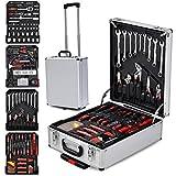 Yahee 599-teilig Werkzeugkoffer Werkzeugkasten Werkzeugkiste Werkzeugbox Trolley in ALU koffer +2 Paare Handschuhen
