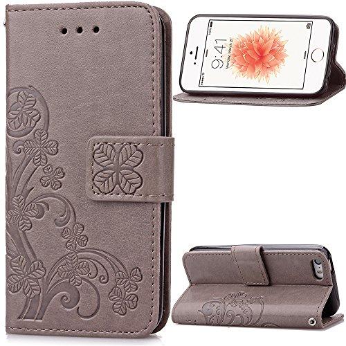 iPhone 5 5S SE Coque, SATURCASE Lucky Clover PU Cuir Magnétique Flip Portefeuille Support Porte-carte Coque Housse Étui Pour Apple iphone 5 5S SE Gray
