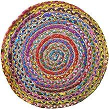 Alfombra redonda multicolor, algodón y yute cosido, con materiales reciclados, tela, multicolor, 60cm Diameter