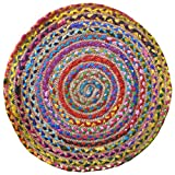 The Indian Arts Fair Trade rund Multi Farbe Baumwolle/Jute Geflochten Teppich recycelten Materialien, Textil, Multi, 60cm Diameter Test