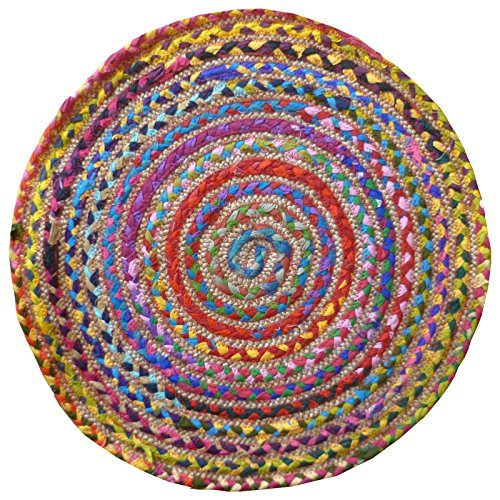 fair trade teppiche The Indian Arts Fair Trade rund Multi Farbe Baumwolle/Jute Geflochten Teppich recycelten Materialien, Textil, Multi, 60cm Diameter
