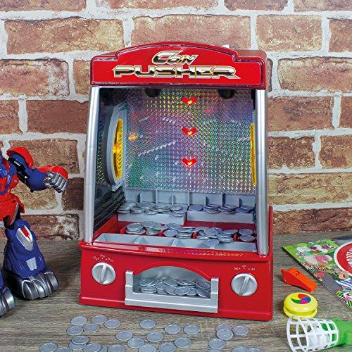 Global Gizmos 50130, batteriebetriebenes Münzschieber-Spielzeug (Klassische 4-licht-post)