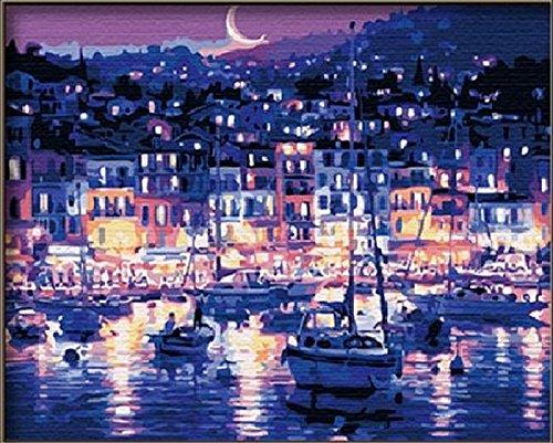 PaintingStudio Moonlight Harbour vue de nuit bricolage peinture a l'huile par kit de nombre image mur Peinture sur toile 16x20 pouces (Encadre)