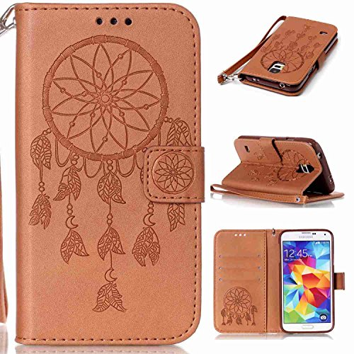 pinlu Funda para Samsung Galaxy S5 i9600 Alta Calidad Función de Plegado Flip Wallet Case Cover Carcasa Piel PU Billetera Ranuras Doble Relieve Atrapasueños (Dream Catcher) Marrón