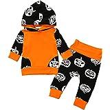 Borlai Lot de 2 survêtements d'halloween pour bébé garçon avec Sweat à Capuche et Pantalon pour 0-24 Mois