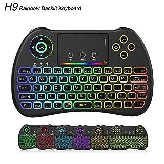 Meerveil Mini Wireless Tastatur, H9 2.4GHz RGB Beleuchtung Tastatur mit Touchpad Maus Wiederaufladbare Combos für Android TV Box, Kodi, HTPC, IPTV, PC, PS3, Xbox 360, Raspberry Pi 3, NVIDIA Shield TV