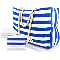 Extra Large Beach Bag Waterproof Canvas Shoulder Bags for Women with Beach Towel