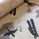 Tela por metros de loneta estampada - Half Panamá (0,50 x 2,80 m) | Avionetas y mapamundi