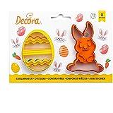 Decora 0255060 Set 2 Tagliapasta Coniglio e Uovo Decorato, Plastica