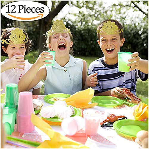 Vamei 12 STÜCKE Prinzessin Tiara Glitter Gold Crown Kinder Party Hüte Glitter Partei Liefert Farbige Party Dekorationen für Weihnachten Geburtstag Party
