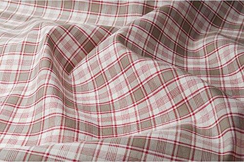 Kariert Rot Leinen & Baumwolle-Mischgewebe Stoff Meterware–160gsm Textil–gewebt in Nordeuropa (Plaid Leinen Kleid)