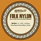 D\'Addario Corde seule en nylon pour guitare folk D\'Addario BEB040, nylon noir, extrémité à boule, .040