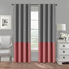 Kurtains2fly Both Sided Grey-Strawberrypink Color Room Darkening Blackout Twins Curtains-Two Panels