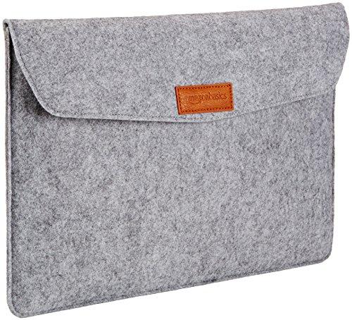 AmazonBasics Laptop-Tasche, Filz, für Displaygrößen bis 15,4 Zoll (39,1 cm), Hellgrau