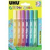 UHU Colle Paillettes, Glitter Glue Shiny, Formule adaptée pour les enfants, Lavable, Blister 6 Tubes 10 ml, Multicolor