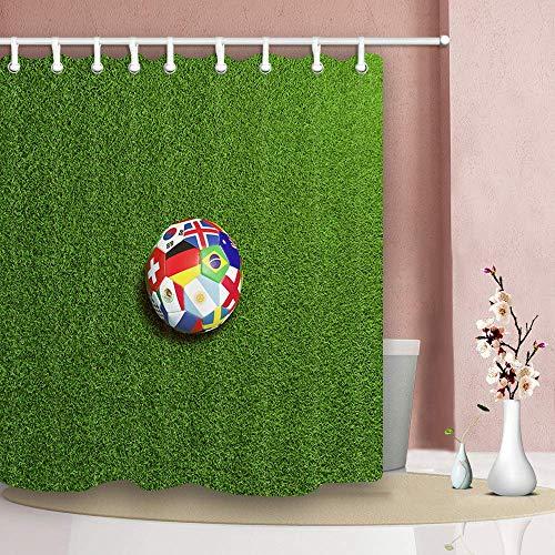 Nyngei tenda da doccia per lo sport calcio coppa del mondo bandiera nazionale modello tessuto in poliestere impermeabile tenda da bagno bath 180x180cm ganci