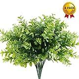 Nahuaa piante verdi artificiali 4 pezzi cespuglio artificiale di plastica interna ed esterna fiori finti di eucalipto tenero verde giardino decorazione di nozze