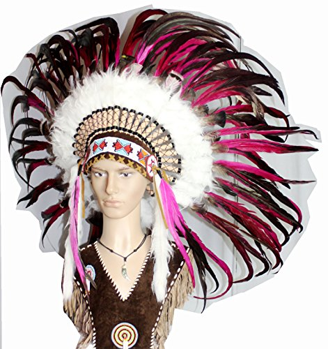 Hejoka-Shop Indianer Federhaube Kopfschmuck EDEL UNIKAT schwarz-pink Federn Perlen für FOTOSHOOTING oder Fasching Kostüm Medizinmann - Medizinmänner Kostüm