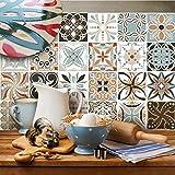 12 azulejos 20x20 cm - PUV0016 Decoración adhesiva efecto de cerámica para baño y cocina Stickers design - Vintage decoraciones
