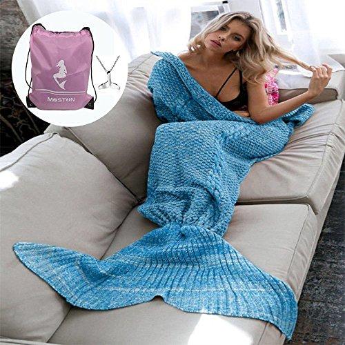 Tejer patrón sirena cola manta por Moens, suave y cálido, diseño de sirena colas saco de dormir aire acondicionado manta bolsa de dormir, diseño de sirena regalo