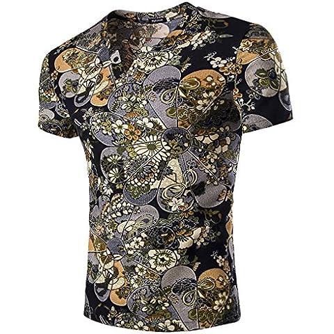 EOZY-Vintage Floreale Maglietta da Uomo Camicia Lino Misti
