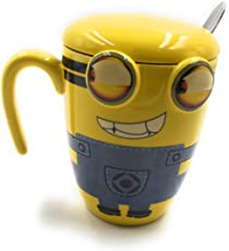 24X7 Emall Limited Edition Premium Minions Ceramic Sculpted Coffee Mug 3D With Spoon And Lid