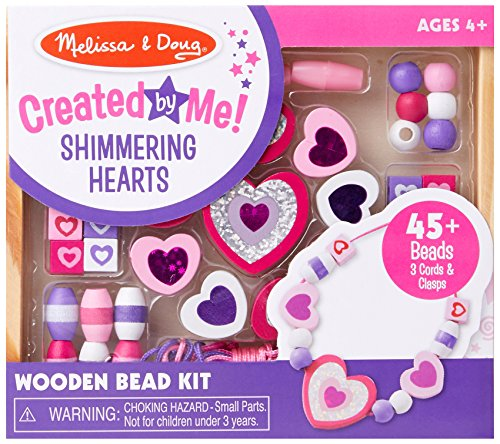 Melissa & Doug 19495 Shimmering Hearts Wooden Bead Set: 45 Beads and 3 Laces for Jewellery-Making