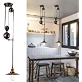 Lampe à suspension à poulie rétractable industrielle Bronze huilé poncé à l'huile Plafonnier Vintage Design pour Bar, Pub, R
