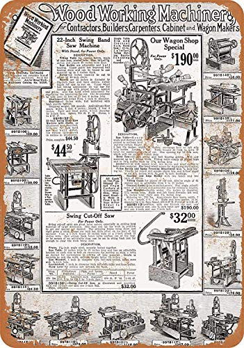 OURTrade 12 x 16 Tin Metal Sign - Vintage Look 1919 Sears Saws and Woodworking Machinery -