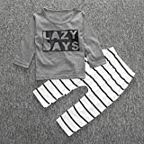 2pcs/conjunto niños bebé carta impresora algodón disfraz de manga larga camiseta + rayas Long–Pantalones Casual ropa conjunto, 80 cm