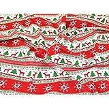 Robe imprimé à rayures en polycoton de Noël Tissu Rouge et Vert–par mètre