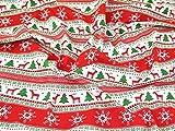 Minerva Crafts Polycotton-Stoff Kleid Weihnachten Stripe Print rot & grün–Meterware