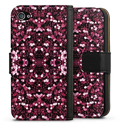 Apple iPhone X Silikon Hülle Case Schutzhülle Glitzer Muster Glitter Sideflip Tasche schwarz