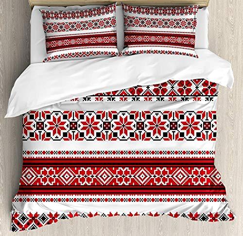 Rotes 3-teiliges Bettwäscheset mit Bettbezug, ukrainische Handarbeitsillustration mit traditionellen Akzenten, Thema Kunst und Handwerk, 3-tlg. Tröster- / Qulitbezugset mit 2 Kissenbezügen, Rot, Schwa - Traditionelle Akzente