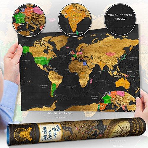 Welt Laminierte Der Karte (murando Rubbelweltkarte schwarz - Weltneuheit: Weltkarte zum Rubbeln - Laminiert (beschreib- & abwischbar) 50x31 cm k-A-0244-o-a)