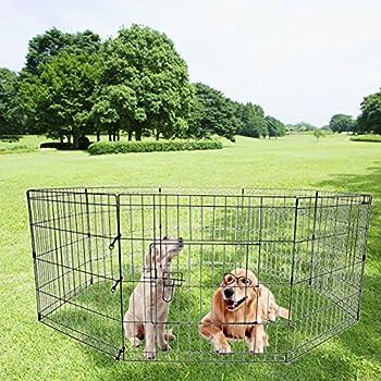 Iglobalbuy Parc Enclos Animal Favori, 24? Clôture Grille en Métal avec Porte et 8 Panneaus pour Niche Chenil Chien Chiot Animal de Compagnie