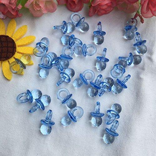Preisvergleich Produktbild humefor 100Mini Baby Schnuller Acryl Transparent Schnuller Baby Dusche Partyzubehör Dekorationen, blau