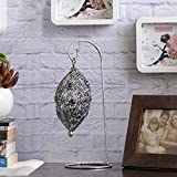 Aapno Rajasthan Bird Nest Wrought Iron Tea Light Holder With Colored Glass & Free Tealight For Diwali