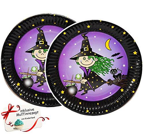 Unbekannt 8 TLG. Set Pappteller kleine Hexe Zauberin - Teller Essen Kinder Kinderparty Pappe Zauberer Katze -