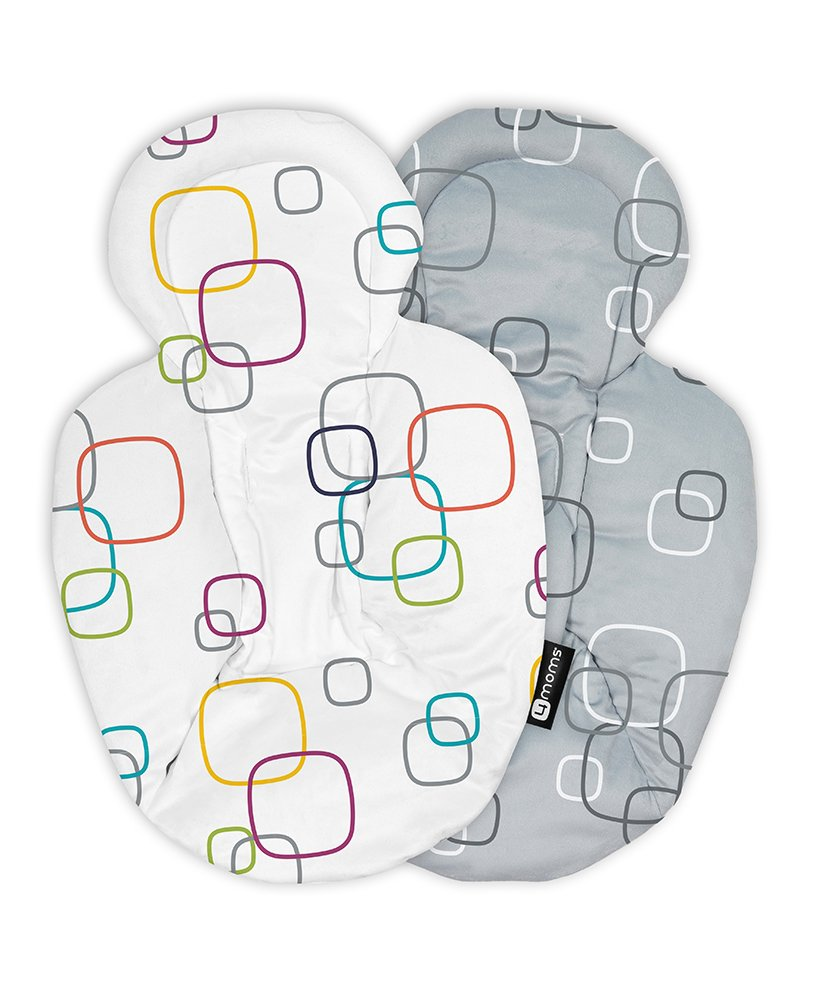 4moms mamaRoo Reversible Newborn Insert, White Grey 4moms Provides additional comfort and support for your newborn and helps make them feel snug and secure. Reversible, featuring multi-coloured plush fabric on one side and silver plush fabric on the other. The soft, plush newborn insert is easy to attach and remove. 1