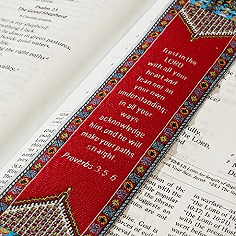 Logos BookMark -Proverbs 3:5-6 - Red, Christian, Cloth Carpet Bookmark by Lukas Media LLC