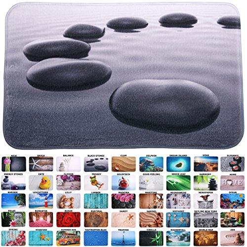 Produktbild Badteppich,  viele schöne Badteppiche zur Auswahl,  hochwertige Qualität,  sehr weich,  schnelltrocknend,  waschbar (70 x 120 cm,  Black Stones)