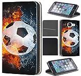 CoverHeld Hülle für Samsung Galaxy S4 Mini Premium Flipcover Schutzhülle aus Kunstleder Flip Case Motiv (1152 Fußball Fussball Weiß Schwarz Orange)