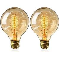 IVEOPPE [2- Pezzi] Lampadine Edison vintage E27 40W, Dimmerabile Lampada G80 Retro Filamento lightbulbs 220v-240v…