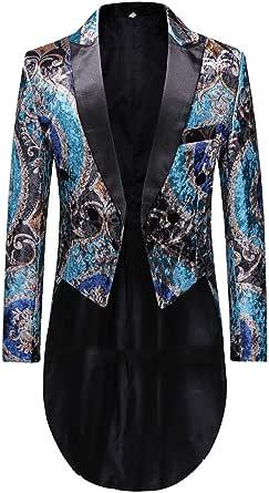 Allthemen Men's Tuxedo Dinner Jacket Slim Fit Vintage Tailcoat Jacket Double-Breasted Tuxedos Blazer.